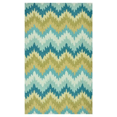 Hand-Hooked Blue/Green Area Rug Rug Size: 76 x 96