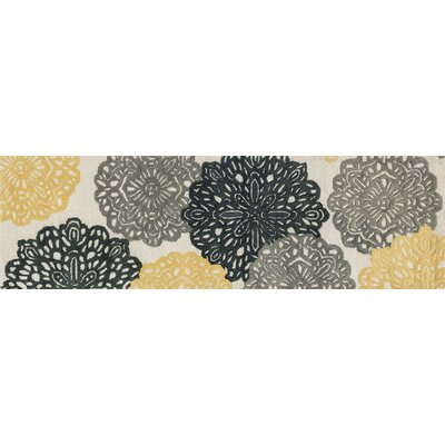 Weston Hand-Tufted Yellow/Charcoal Area Rug Rug Size: 23 x 39