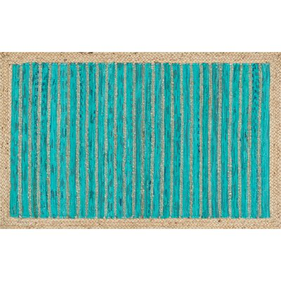 Hand-Woven Turquoise Area Rug