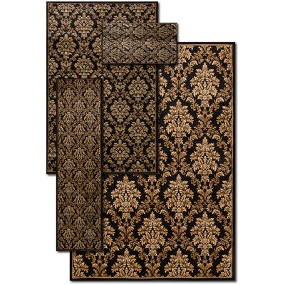 Hand-Woven Black Area Rug Rug Size: Set of 4