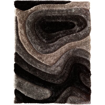 Hand-Carved Gray Area Rug Rug Size: 66 x 96