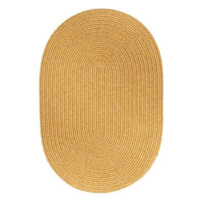Handmade Vintage Gold Area Rug Rug Size: Oval  2 x 3