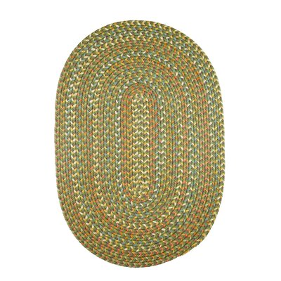 Handmade Olive Indoor/Outdoor Area Rug Rug Size: Oval 2 x 3