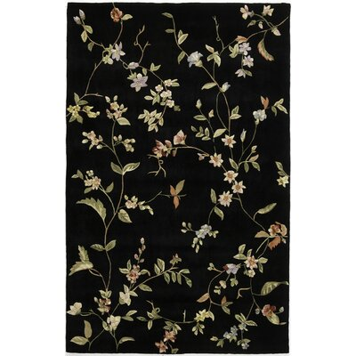Hand-Tufted Black Area Rug Rug Size: 8 x 11