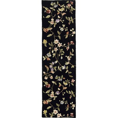 Hand-Tufted Black Area Rug Rug Size: Runner 23 x 8