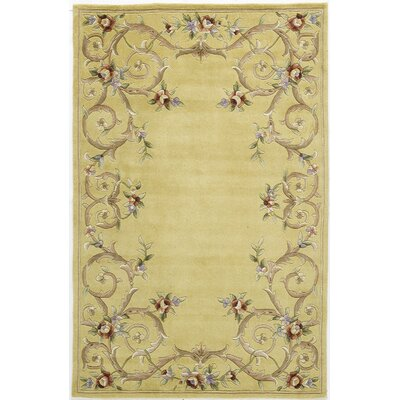 Hand-Tufted Gold Area Rug Rug Size: 7 x 9