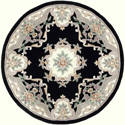 Hand-Tufted Wool Black/Gray Area Rug Rug Size: Round 6