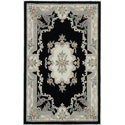 Hand-Tufted Wool Black/Gray Area Rug Rug Size: 4 x 6