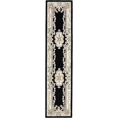 Hand-Tufted Wool Black/Gray Area Rug Rug Size: Runner 23 x 10