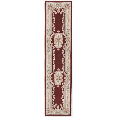 Hand-Tufted Wool Burgundy Area Rug Rug Size: Runner 23 x 10