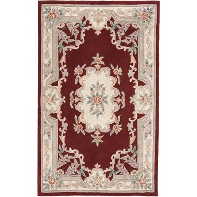 Hand-Tufted Burgundy Oriental Runner Area Rug Rug Size: 8 x 11