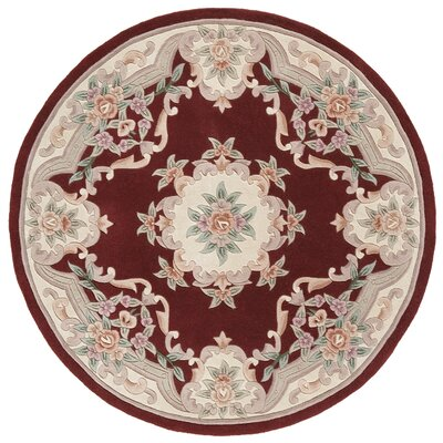 Hand-Tufted Wool Burgundy Area Rug Rug Size: Rectangle 4 x 6