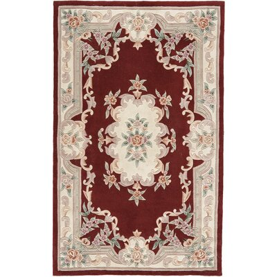 Hand-Tufted Wool Burgundy Area Rug Rug Size: 4 x 6