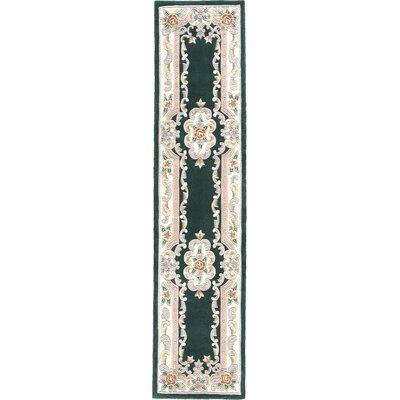 Hand-Tufted Wool Dark Emerald Green Area Rug Rug Size: Runner 23 x 10