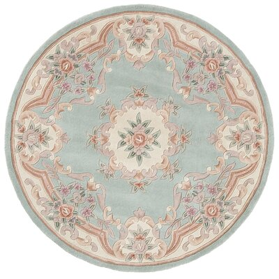 Hand-Tufted Wool Light Green Area Rug Rug Size: Round 6