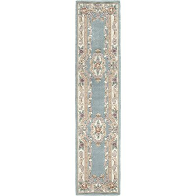 Hand-Tufted Wool Light Green Area Rug Rug Size: Runner 23 x 10