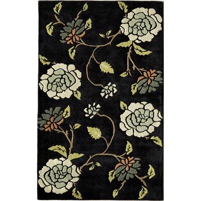 Hand-Woven Black Area Rug Rug Size: 7 x 9
