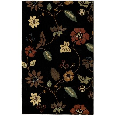 Hand-Woven Black Area Rug Rug Size: 7 x 9