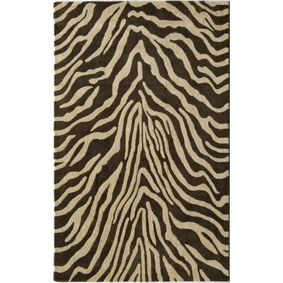 Hand-Tufted Brown/Ivory Area Rug Rug Size: 5 x 8