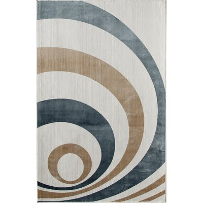 White/Blue Area Rug Rug Size: 34 x 47