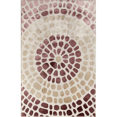 Cream/Red Area Rug Rug Size: 34 x 47