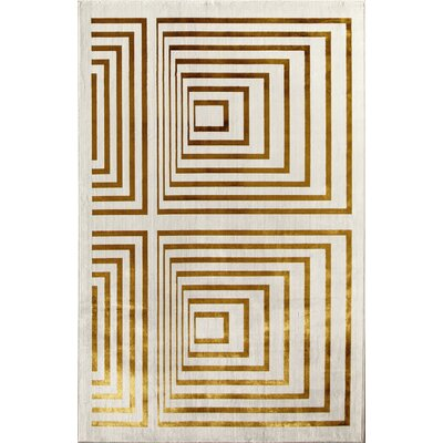 Gold Area Rug Rug Size: 411 x 76