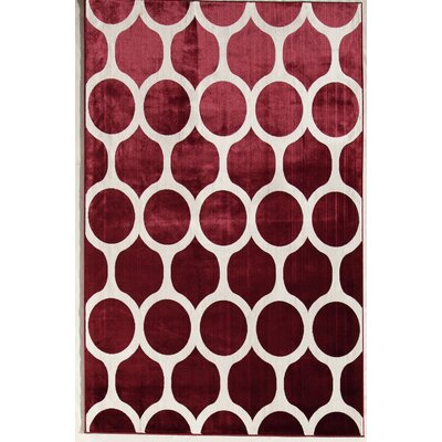 Red/Cream Area Rug Rug Size: 34 x 47