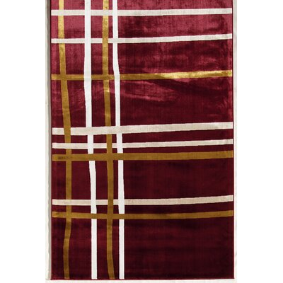 Red Area Rug Rug Size: 34 x 47