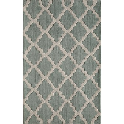 Hand-Tufted Green/Tan Area Rug Rug Size: 7'6