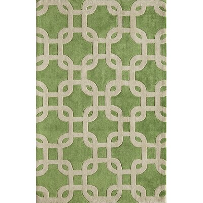 Hand-Woven Lime/Cream Area Rug Rug Size: 76 x 96