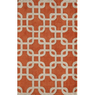 Hand-Tufted Orange/Cream Area Rug Rug Size: 76 x 96