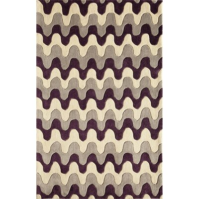 Hand-Tufted Brown/Cream Area Rug Rug Size: 76 x 96
