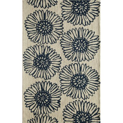 Hand-Tufted Blue/Cream Area Rug Rug Size: 5 x 76