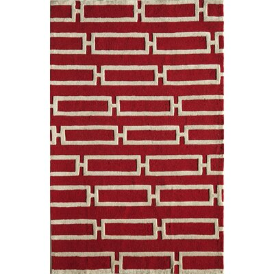 Hand-Tufted Red/Cream Area Rug Rug Size: 76 x 96