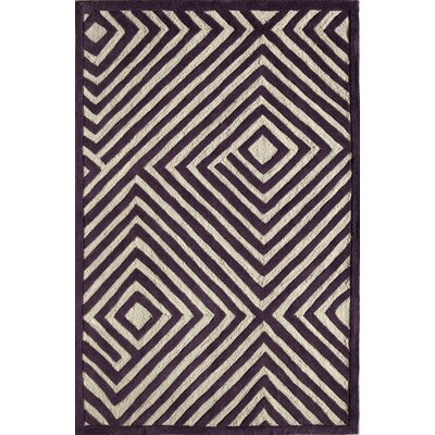 Hand-Tufted Purple/Cream Area Rug Rug Size: 16 x 23