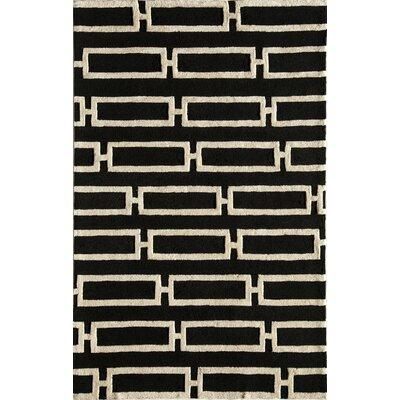 Hand-Tufted Black/Cream Area Rug Rug Size: 5 x 76