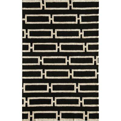Hand-Tufted Black/Cream Area Rug Rug Size: 76 x 96