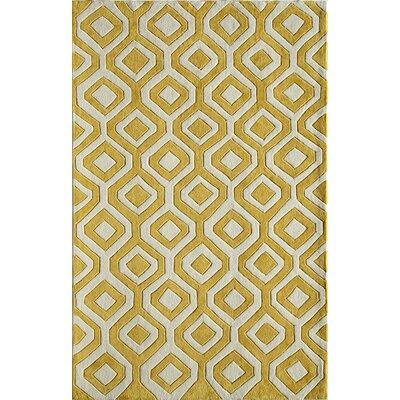 Hand-Woven Yellow Area Rug Rug Size: 16 x 23