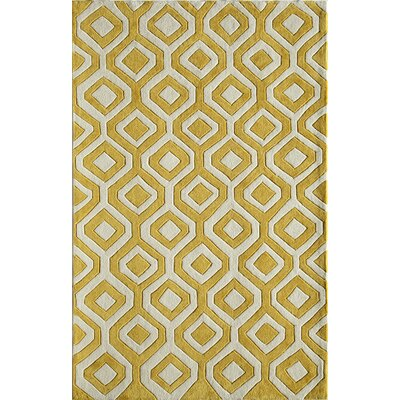 Hand-Woven Yellow Area Rug Rug Size: 76 x 96