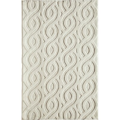 Hand-Woven White Area Rug Rug Size: 76 x 96