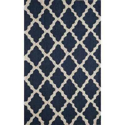 Hand-Tufted Black/Cream Area Rug Rug Size: 76 x 96