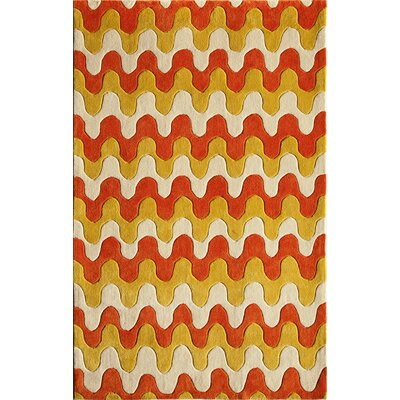 Hand-Tufted Yellow and Red Area Rug Rug Size: 76 x 96