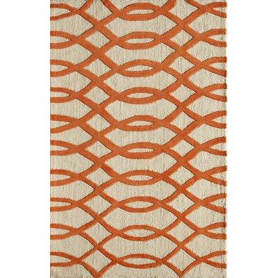 Hand-Woven Orange/Cream Area Rug Rug Size: 76 x 96