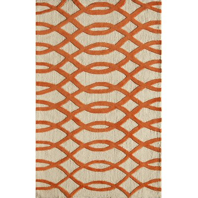 Hand-Woven Orange/Cream Area Rug Rug Size: 5 x 76