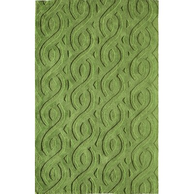 Hand-Woven Green Area Rug Rug Size: 5 x 76