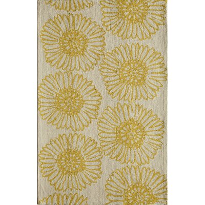Hand-Tufted Gold/Cream Area Rug Rug Size: 5 x 76