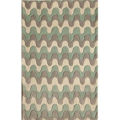 Hand-Tufted Gray/Blue Area Rug Rug Size: 5 x 76