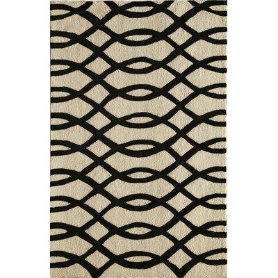 Hand-Tufted Black/Cream Area Rug Rug Size: 16 x 23