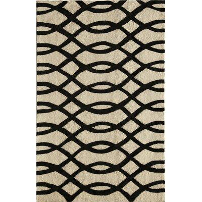 Hand-Tufted Black/Cream Area Rug Rug Size: 5 x 76
