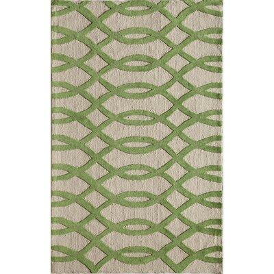 Hand-Tufted Lime/Cream Area Rug Rug Size: 5 x 76